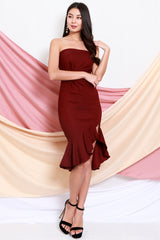 Twist Knot Mermaid Tube Dress (Maroon)