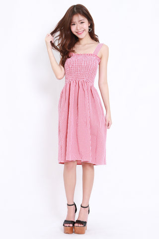 Smoked Gingham Midi Dress (Red)
