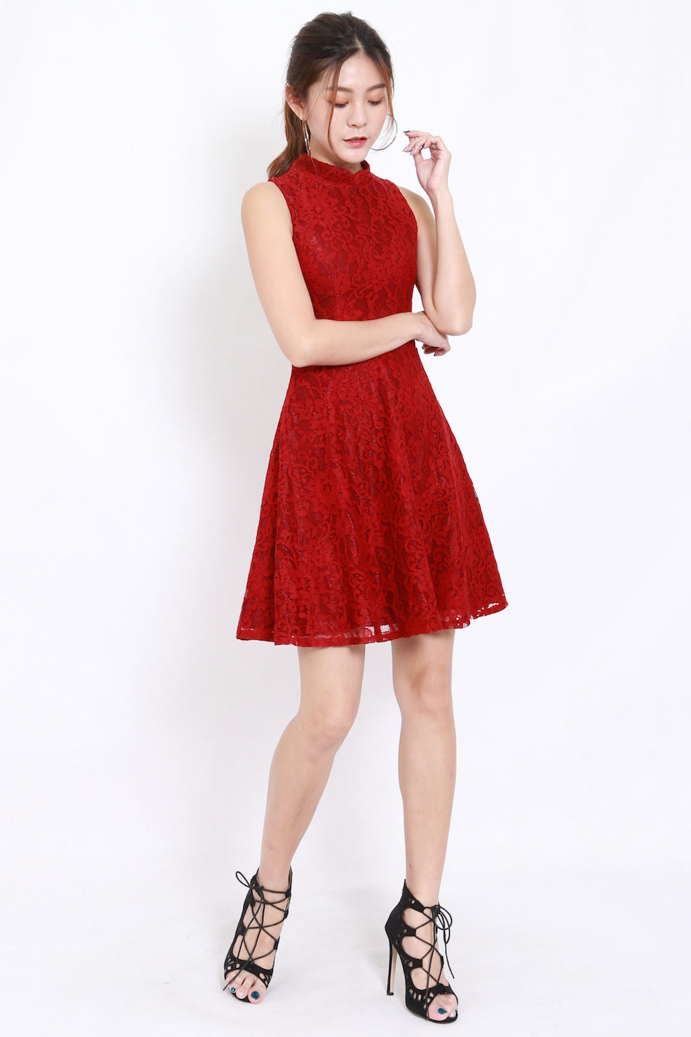 Kassie Lace Overlay Dress (Red)