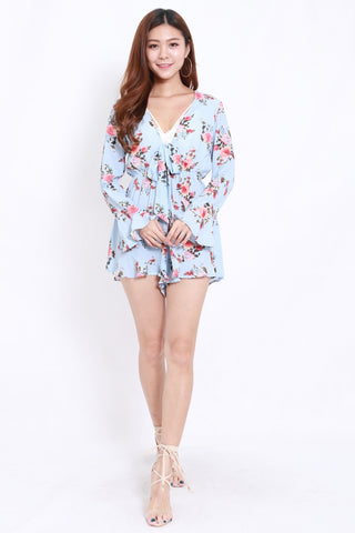 Kelly Bow Front Romper (Blue)