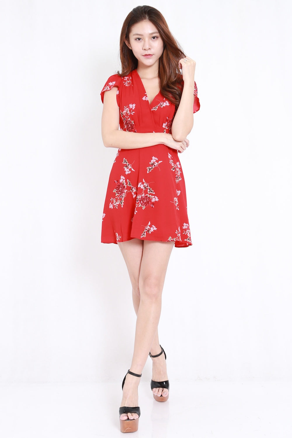 Kimono Tie Back Dress (Red)