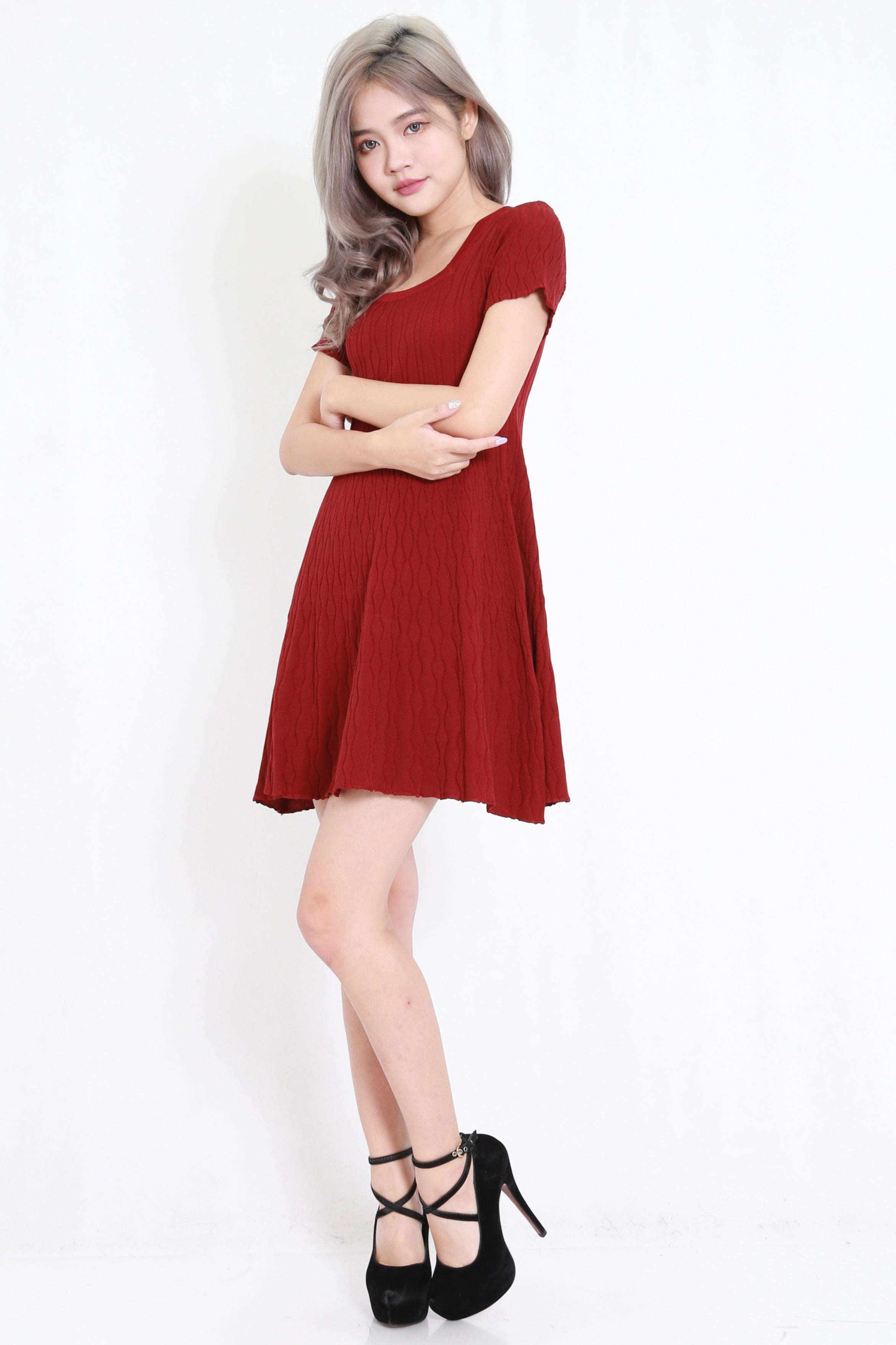 Knit Babydoll Dress (Maroon)