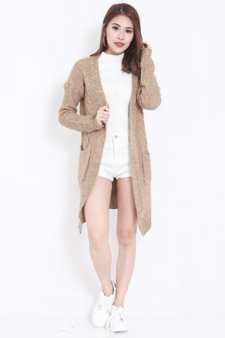 Knitted Cardigan Dark (Wheat)