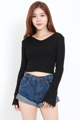 Knitted Long Sleeve Top (Black)