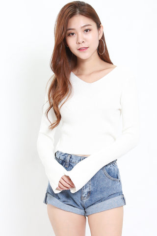 Knitted Long Sleeve Top (White)
