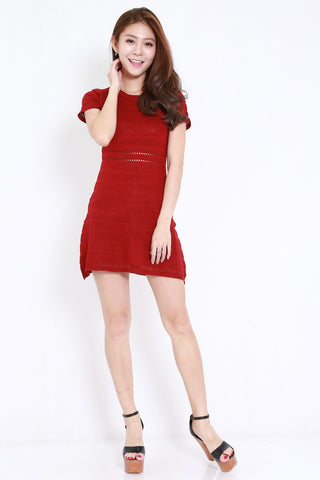 Knitted Swing Dress (Maroon)
