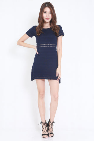 Knitted Swing Dress (Navy)