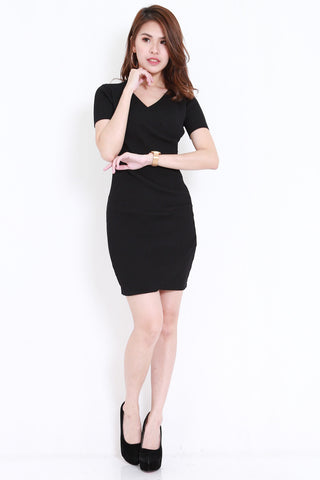 Knitted V Wrap Dress (Black)