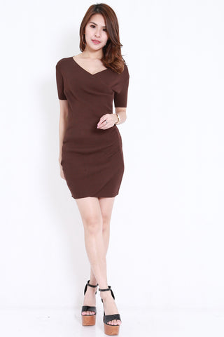 Knitted V Wrap Dress (Brown)