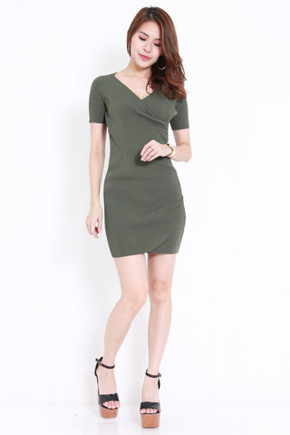 Knitted V Wrap Dress (Olive)
