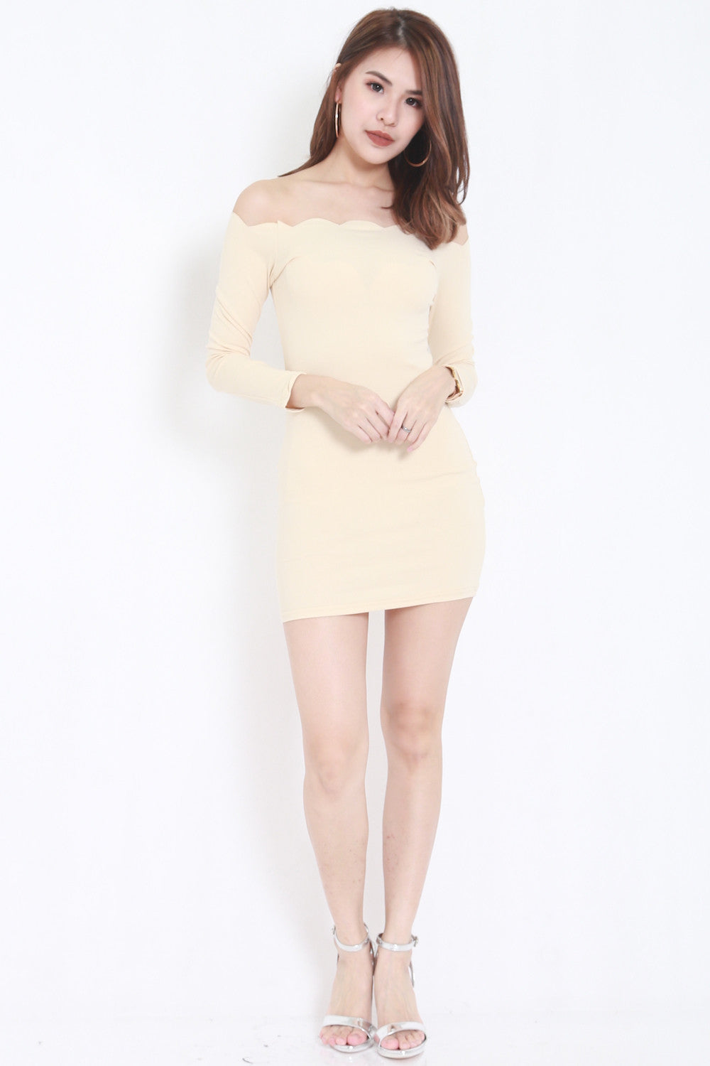 Ls- nude :1 7 LS Scallop Dress (Nude) - - 2