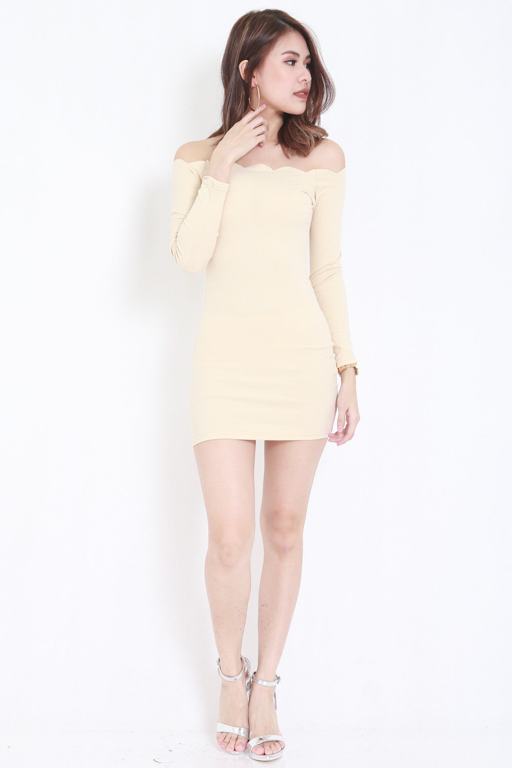 nude ls  LS Scallop Dress (Nude) - - 1