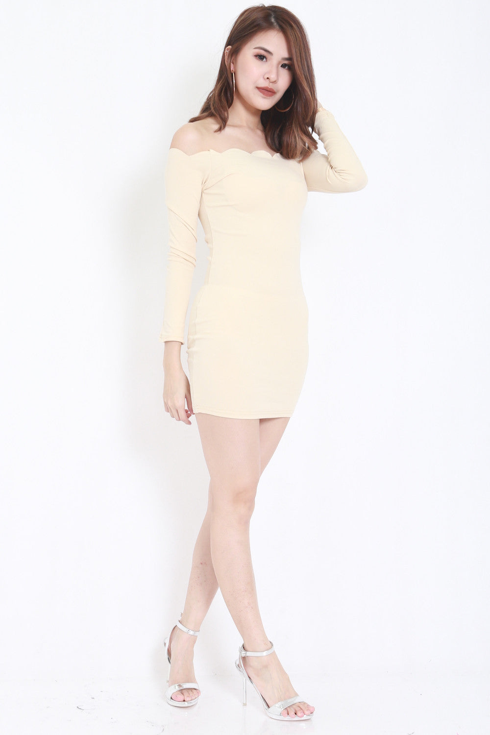 Ls- nude :1 7 LS Scallop Dress (Nude) - - 3