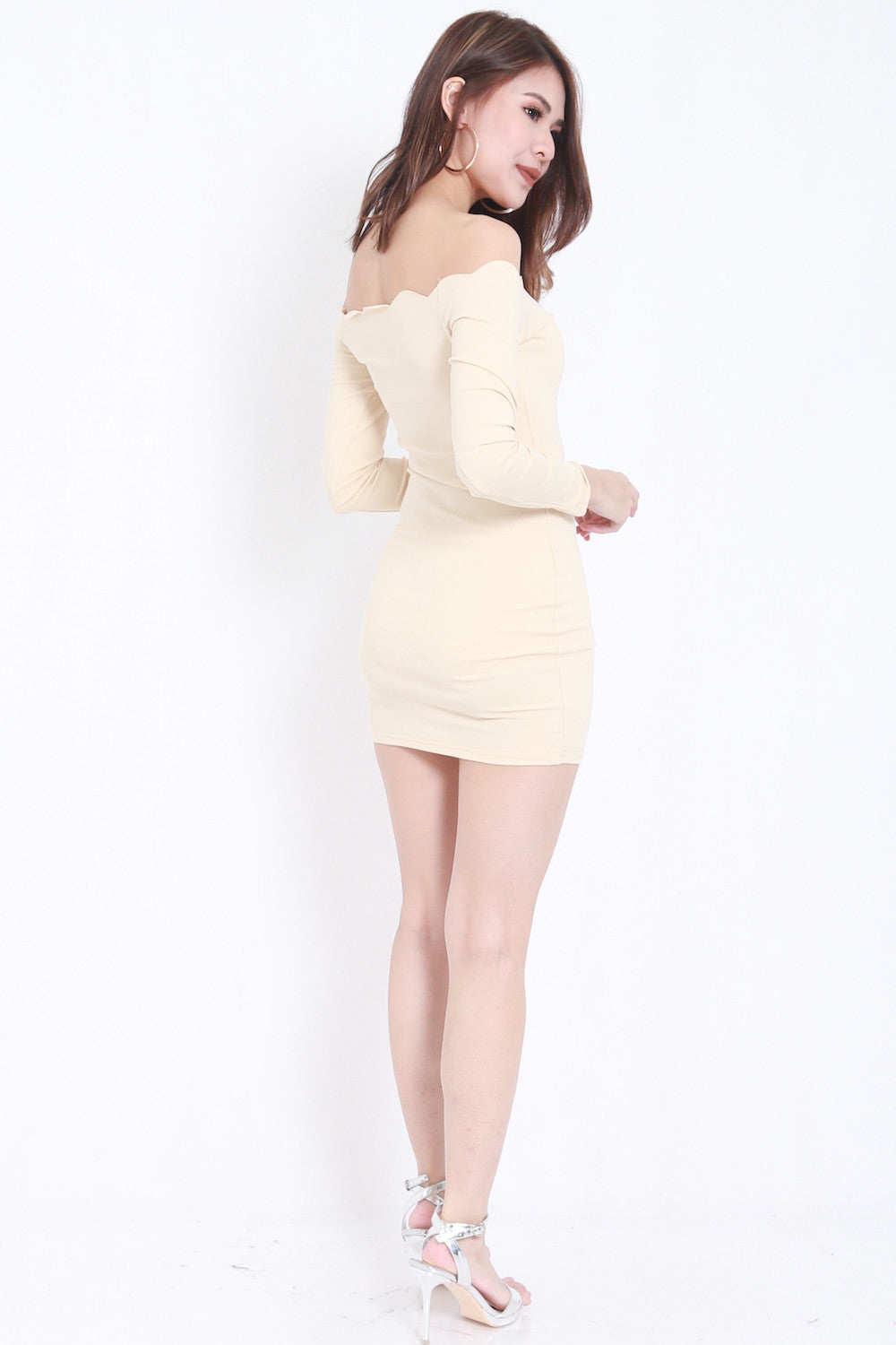 nude ls  LS Scallop Dress (Nude)