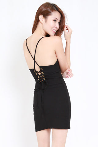 Lace Back Bandage Dress (Black)