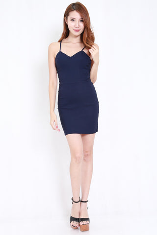 Lace Back Bandage Dress (Navy)