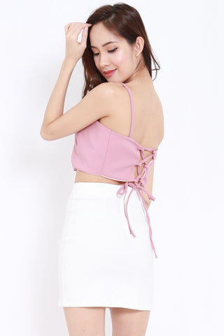 Lace Back Crop Bralet (Blush)