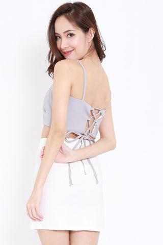 Lace Back Crop Bralet (Grey)