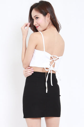 Lace Back Crop Bralet (White)
