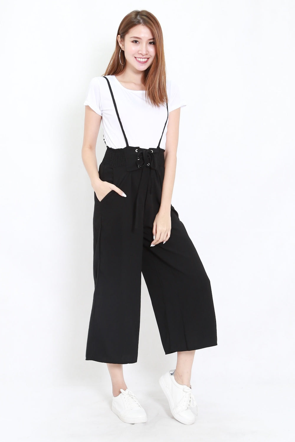 Lace Jumpsuit 2pcs Set (Black)