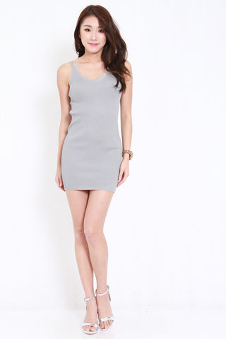 Lace Knit Spag Dress (Grey)