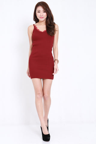 Lace Knit Spag Dress (Maroon)