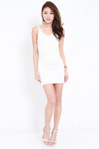 Lace Knit Spag Dress (White)