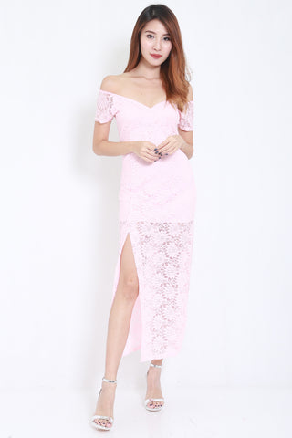 Lace Off Shoulder Maxi (Pink) -  - 1