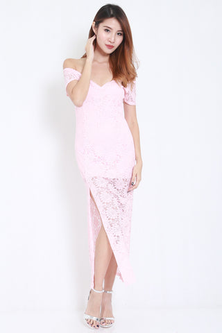 Lace Off Shoulder Maxi (Pink) -  - 2