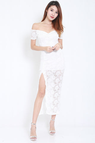 Lace Off Shoulder Maxi (White) -  - 2