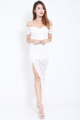 Lace Off Shoulder Maxi (White) -  - 1