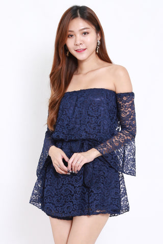 Lace Off Shoulder Romper (Navy)