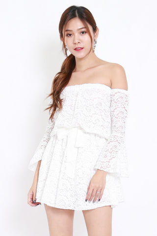 Lace Off Shoulder Romper (White)