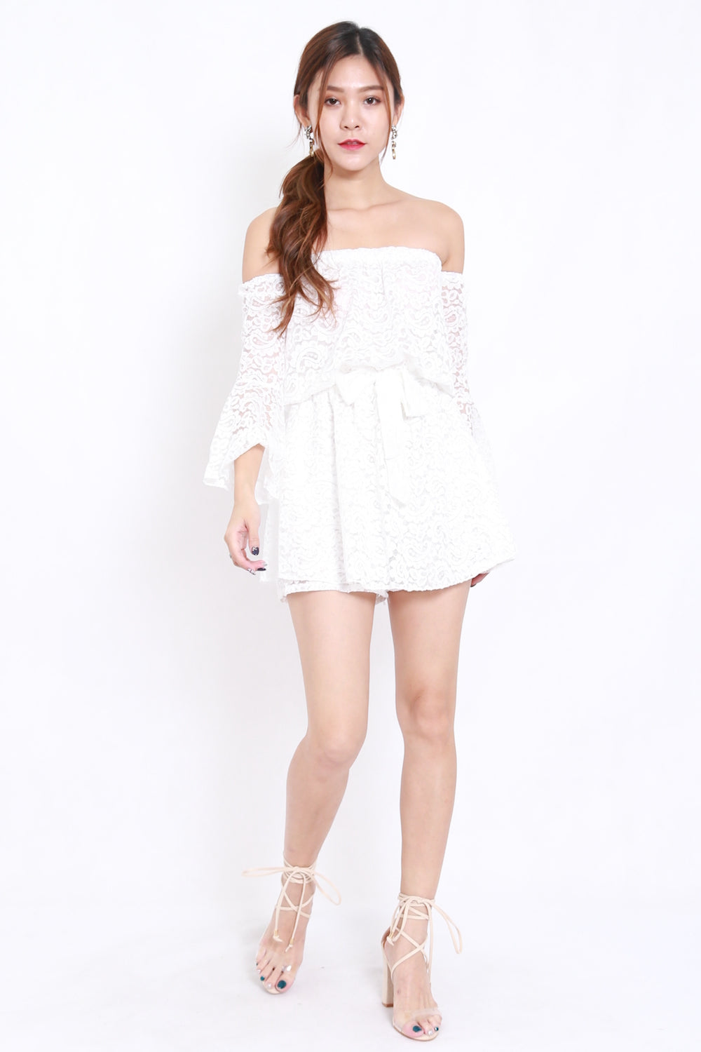 5b7719e6cba Lace Off Shoulder Romper (White) – Carrislabelle