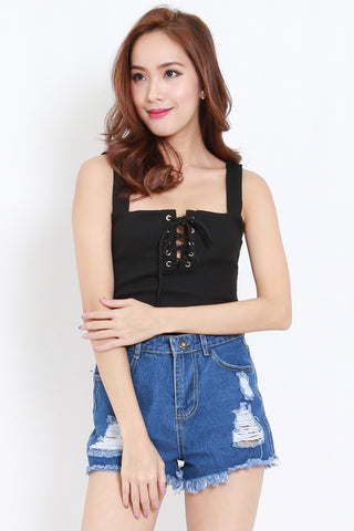 Lace Ribbed Top (Black)