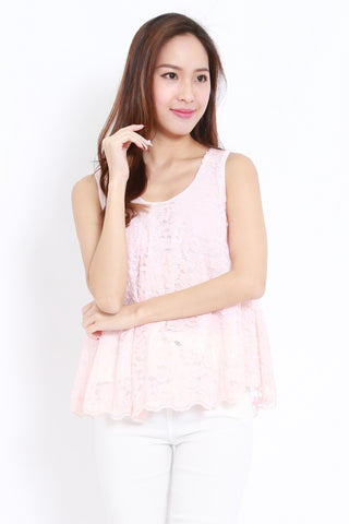 Lace Ribbon Back Top (Pink)