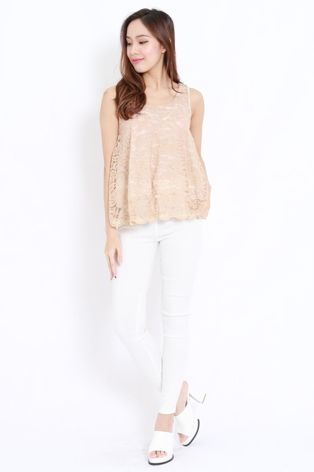 Lace Ribbon Back Top (Nude)