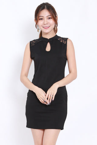 Lace Sleeve Cheongsam Black Dress