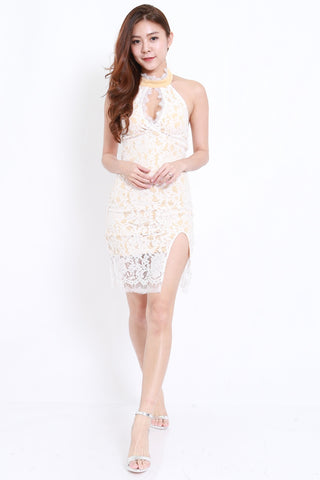 Lace Slit Cutout Dress (White)