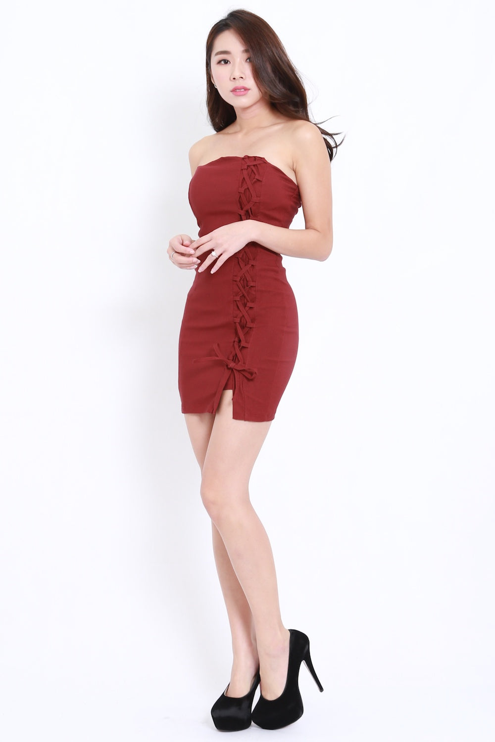 Lace Tube Dress (Maroon) – Carrislabelle