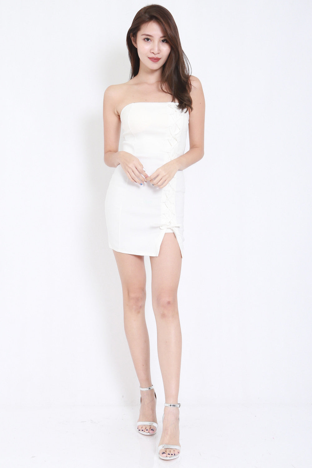 Lace Tube Dress (White) -  - 2