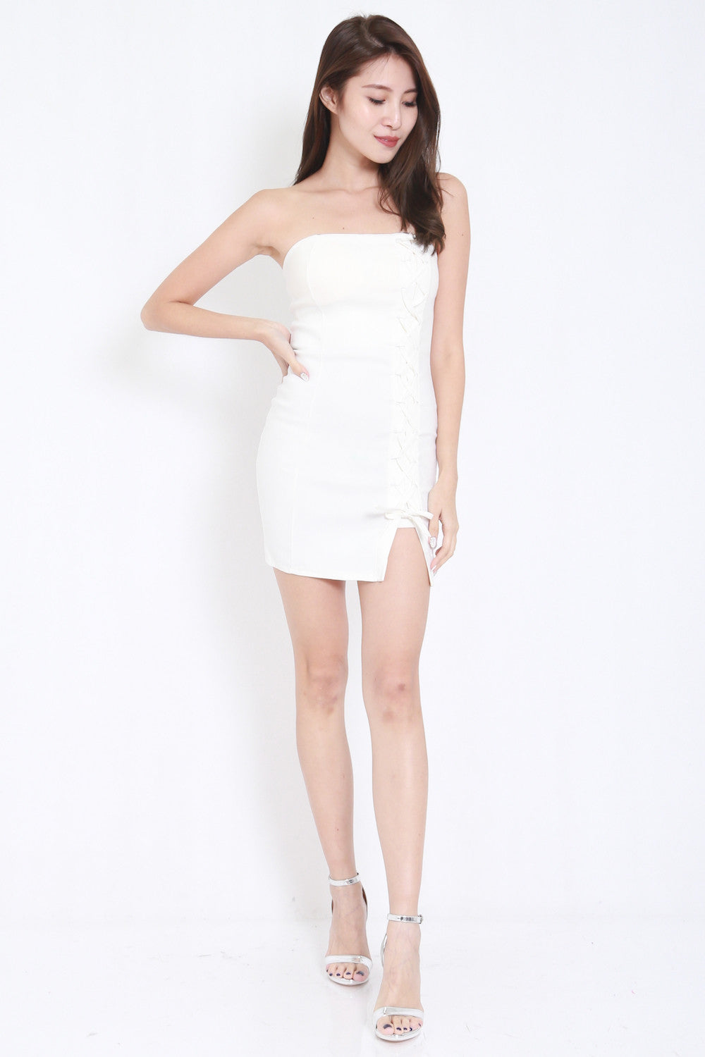 Lace Tube Dress (White) -  - 3