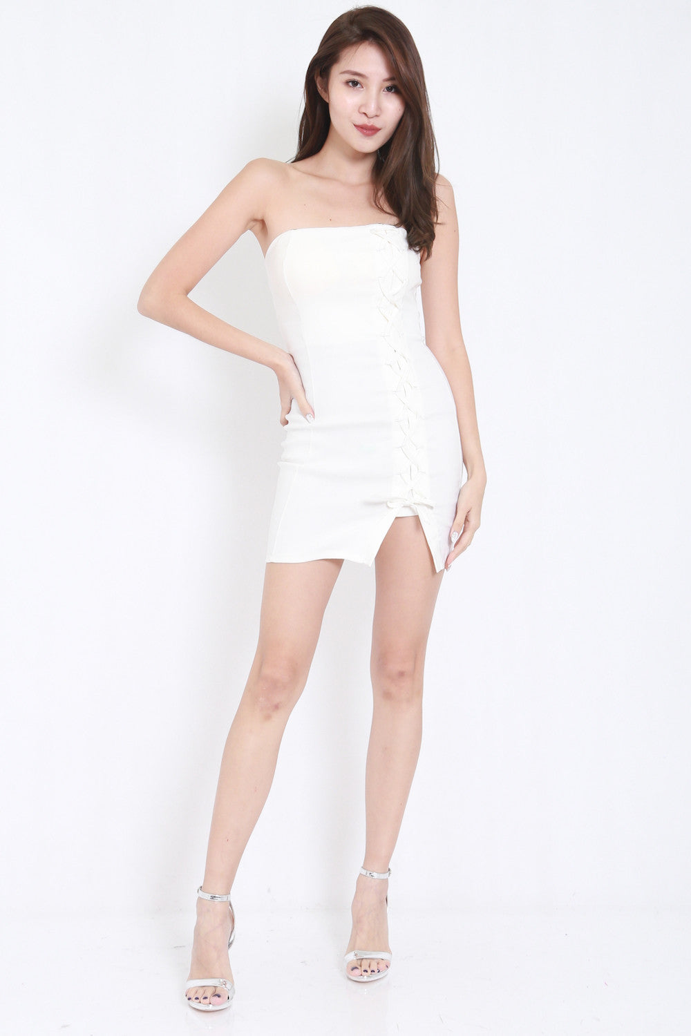Lace Tube Dress (White) -  - 1
