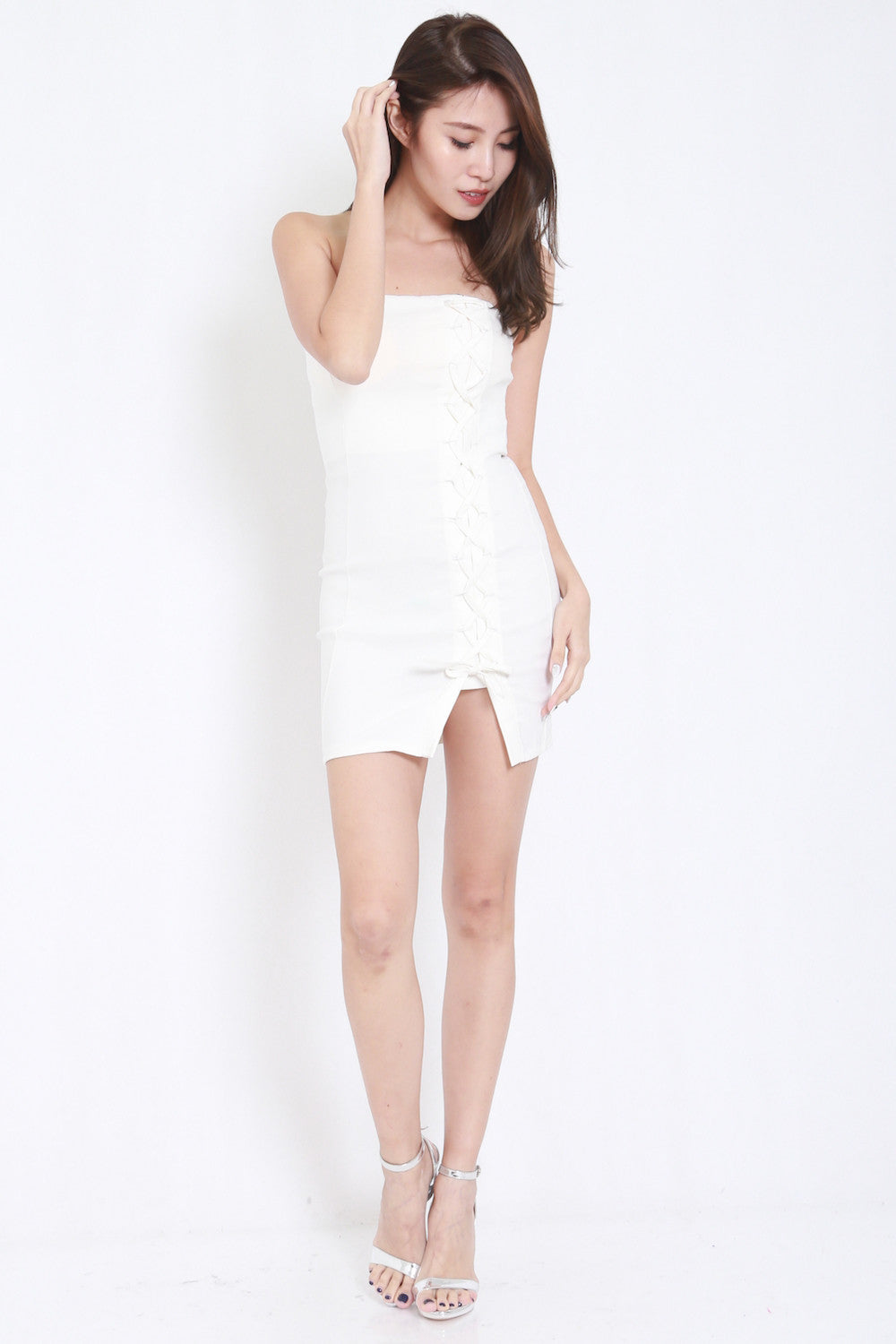 Lace Tube Dress (White) -  - 4