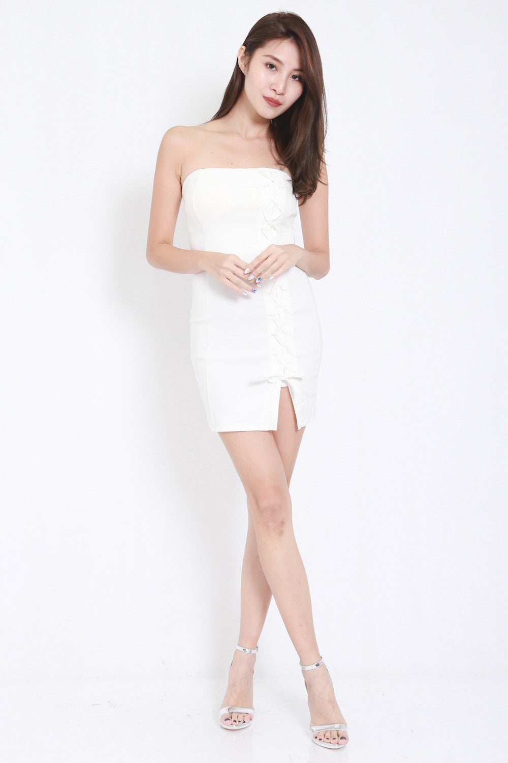 Lace Tube Dress (White) -  - 5