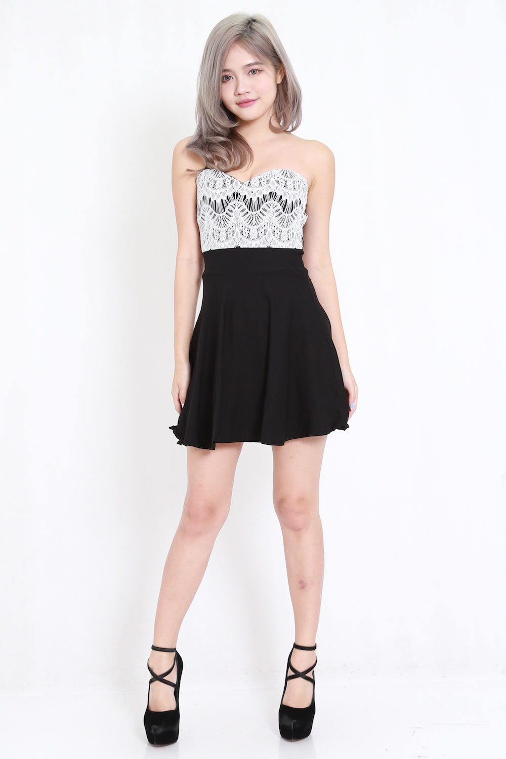 Lace Skater Tube Dress (White)