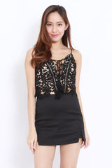 Lace Up Crochet Top (Black)