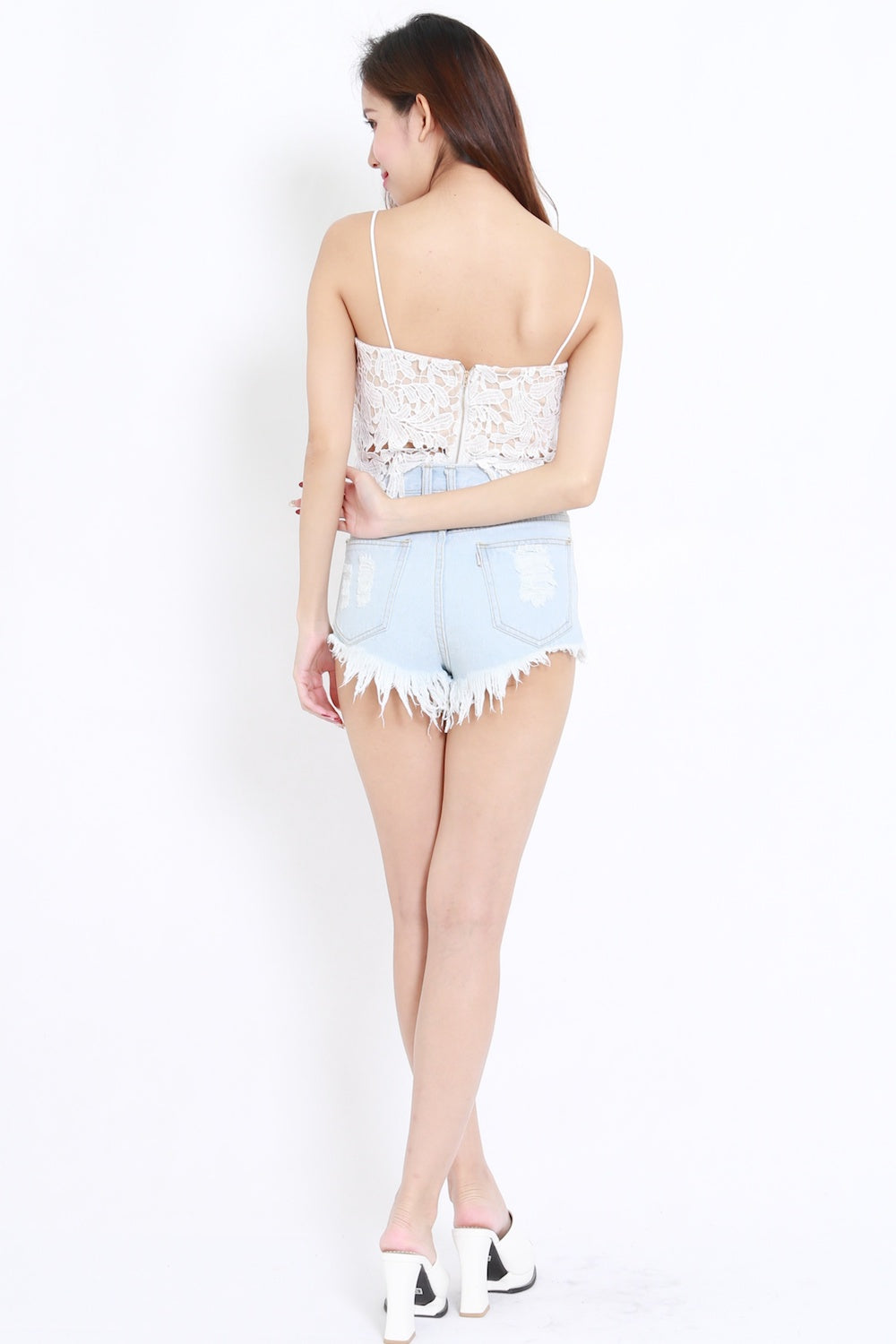 Lace Up Crochet Top (White)
