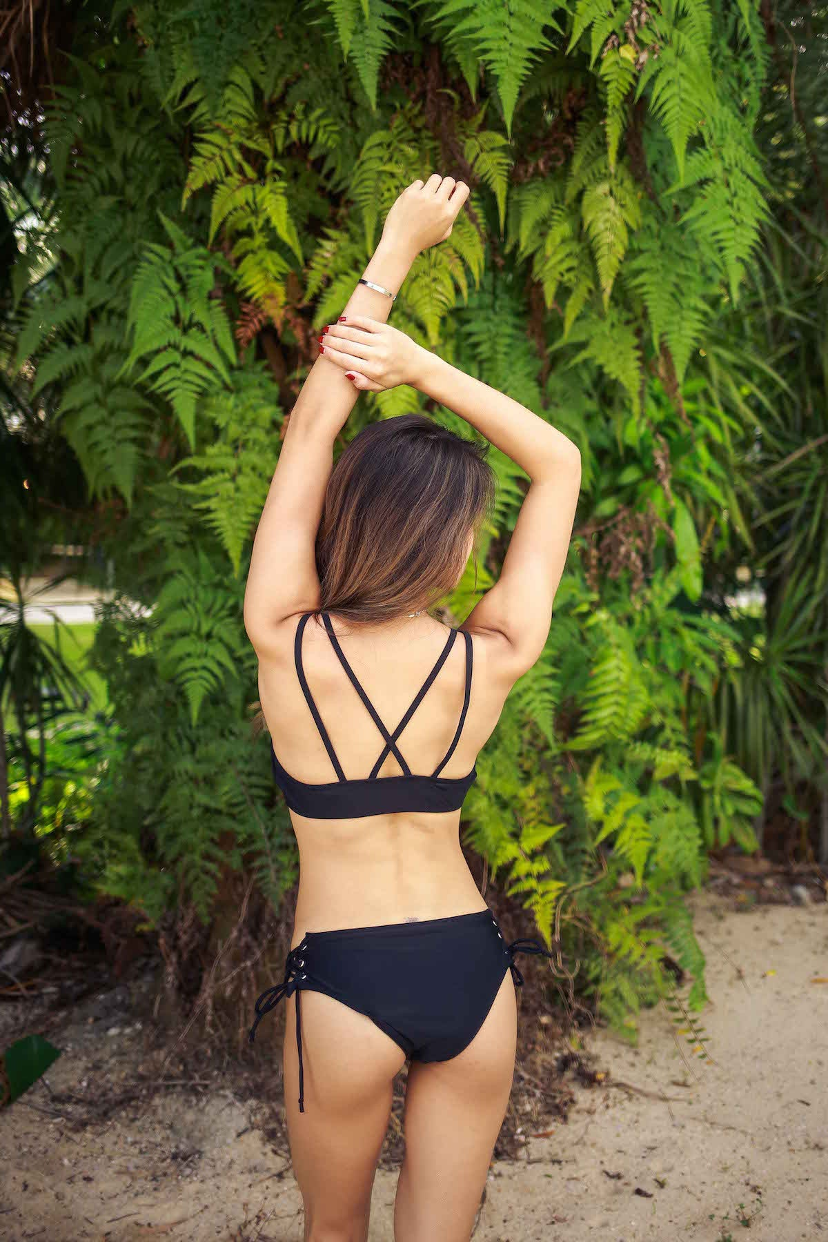 Lace Up Cross Back Bikini