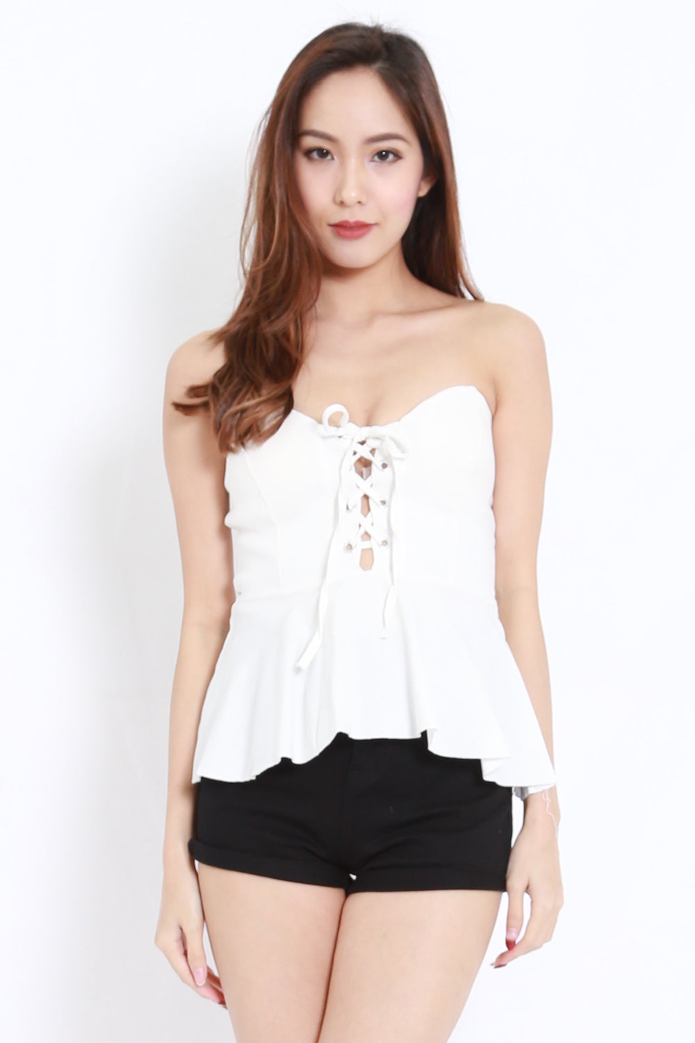 Lace Up Peplum Top (White)